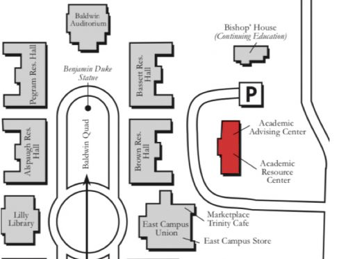 map of east campus showing ARC building